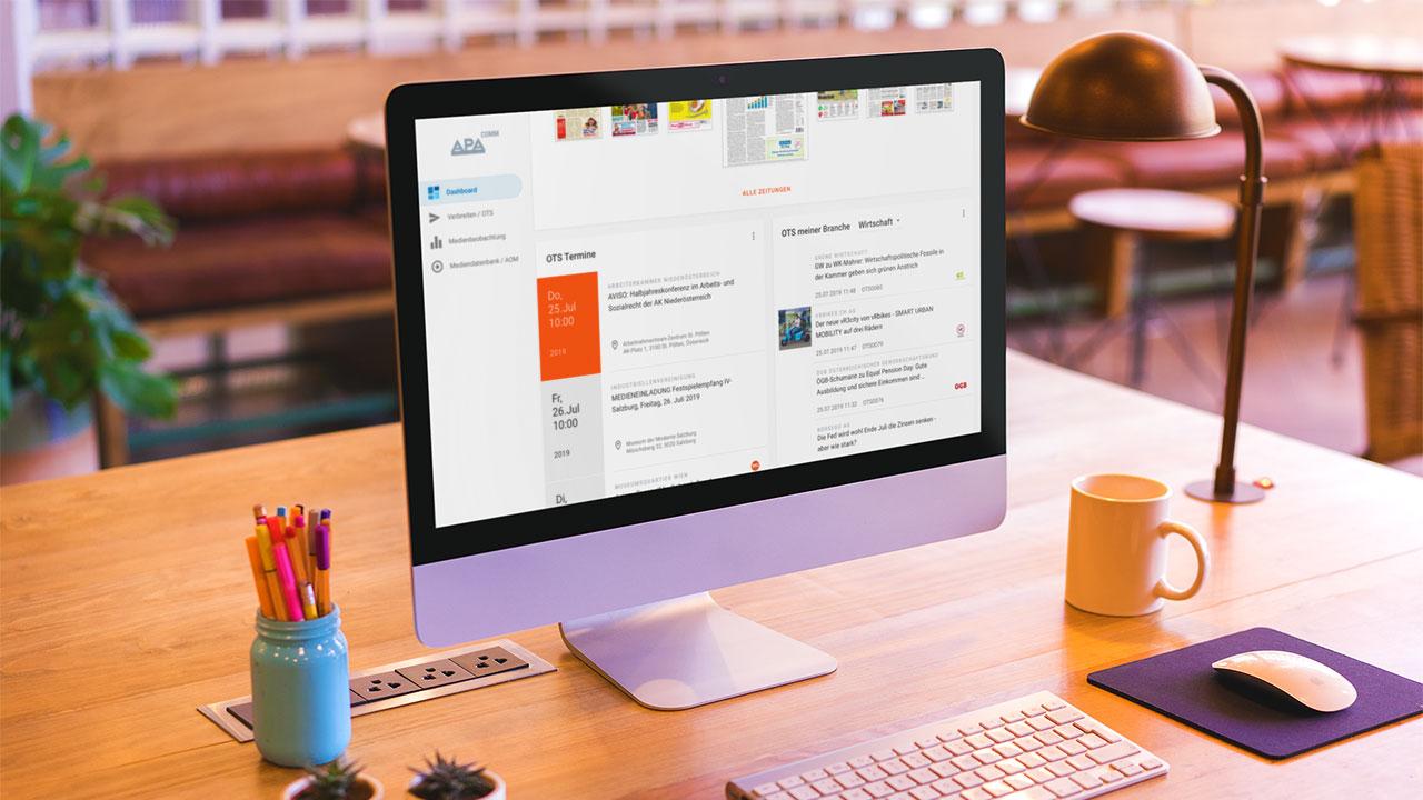 Startseite PR-Desk auf Monitor