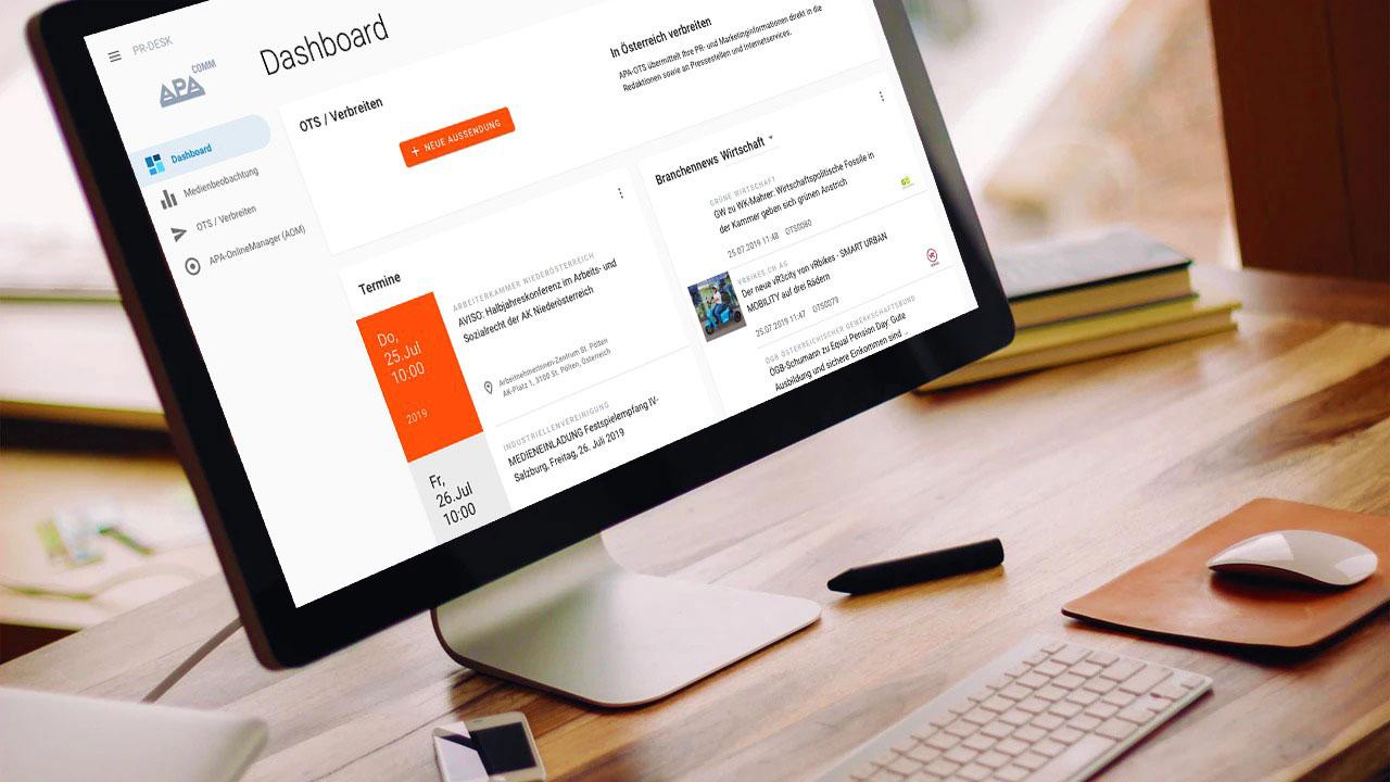 Sreenshot PR-Desk auf Monitor