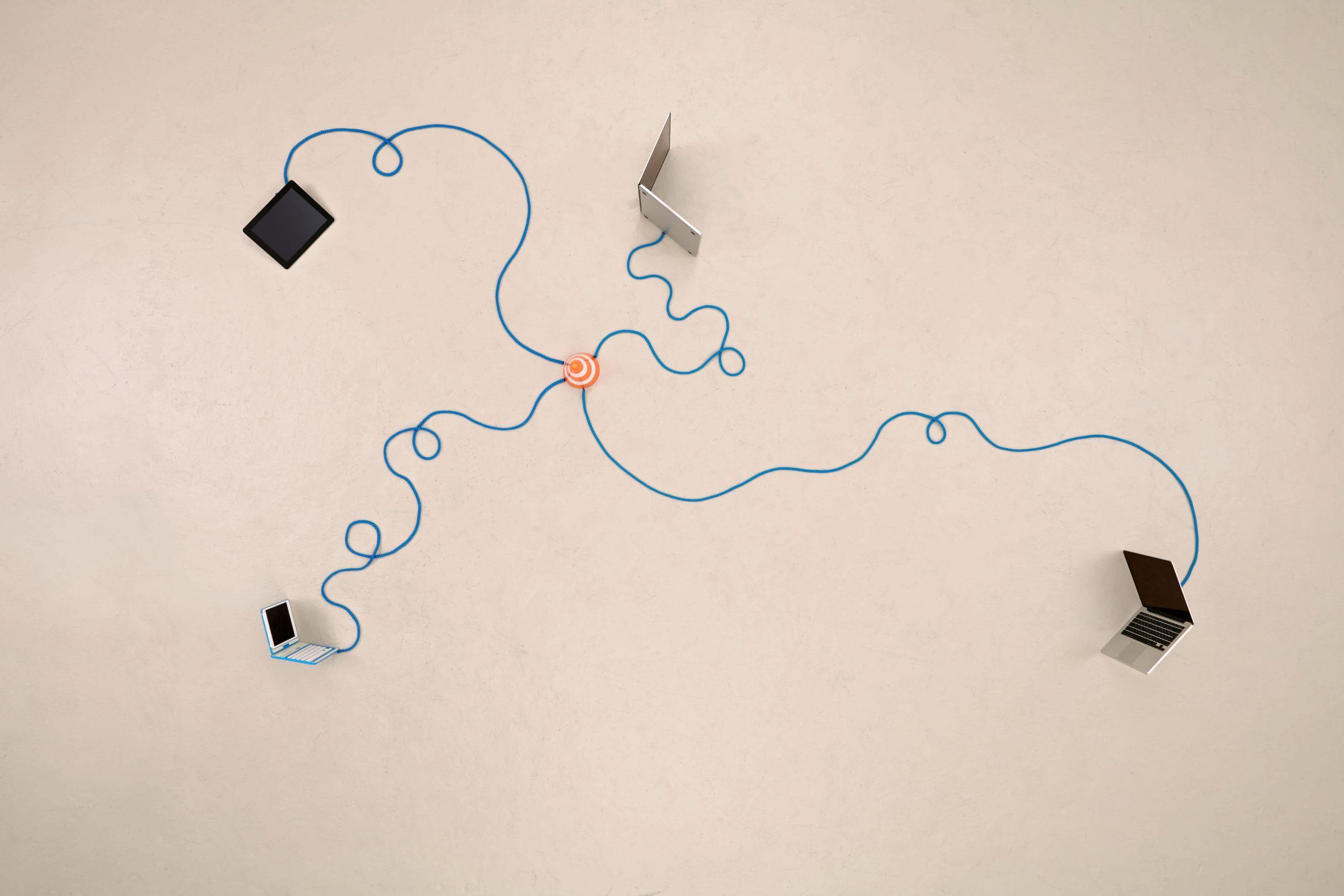 Verbundene elektronische Geräte für Recovery Konzept der Keystone SDA