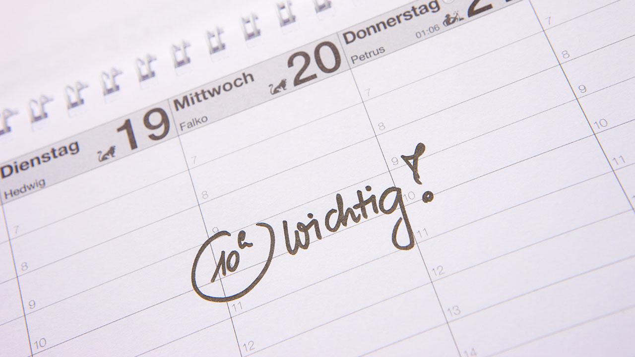 Nahaufnahme Kalender für APA-Termine